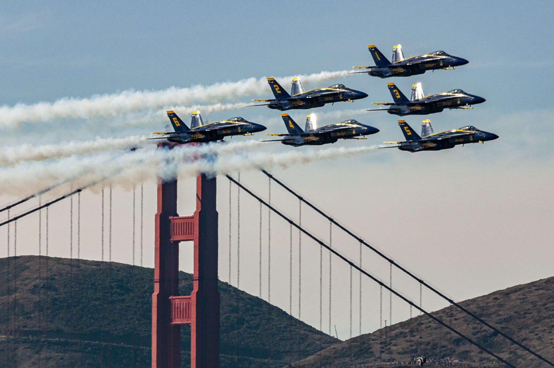 Blue Angels Fly by Golden Gate Bridge