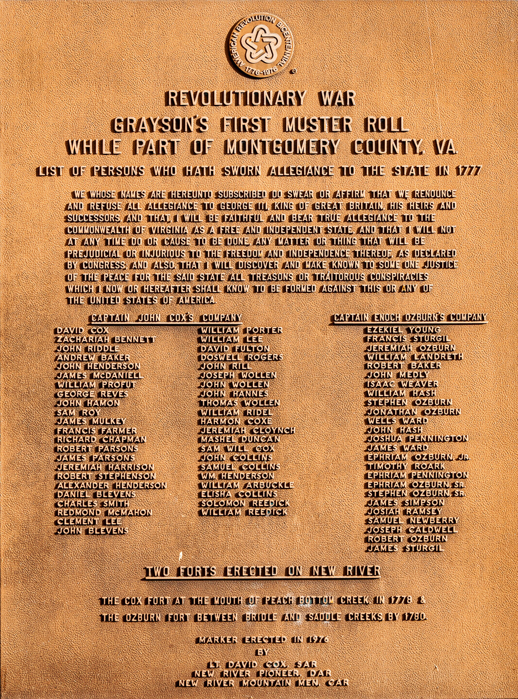 Grayson County Virginia Revolutionary War Muster